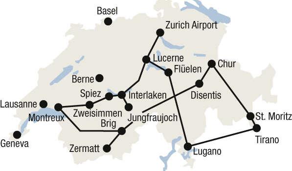 מפת טיול הרכבות הגדול של שוויץ