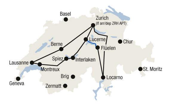 מפת טיול הרכבות בין אגמי שוויץ