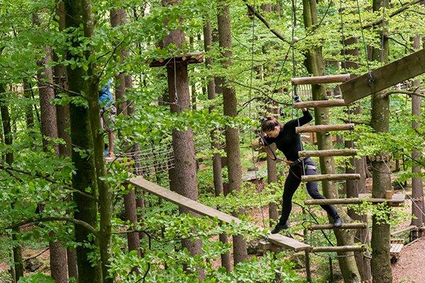 מטפסת בפארק החבלים באינטרלקן