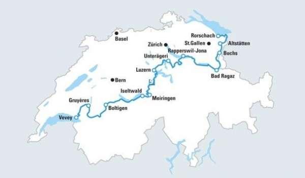 מפת מסע רכיבת לאורך האגמים