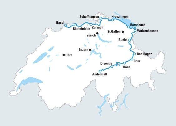 מפת מסע הרכיבה לאורך נהר הריין