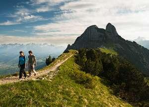 מטיילים על שביל בפסגת הר באזור אפנזלאנד