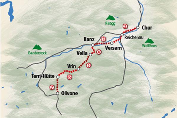 מפת טיול ההייקינג מהאלפים לחבל טיצ'ינו