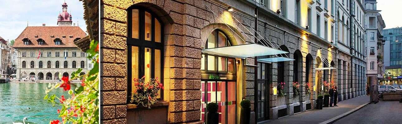 רחוב ורחוב וכניסת מלון B2, ומבנה על נהר הרוס בלוצרן.כניסת מלון B2 ומבנה על נהר הרוס.בעיר לוצרן.