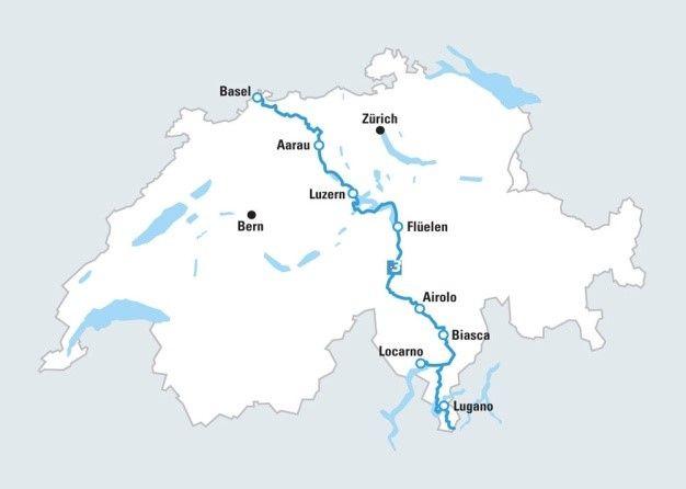 מפת טיול אופניים מבאזל ללוקרארנו