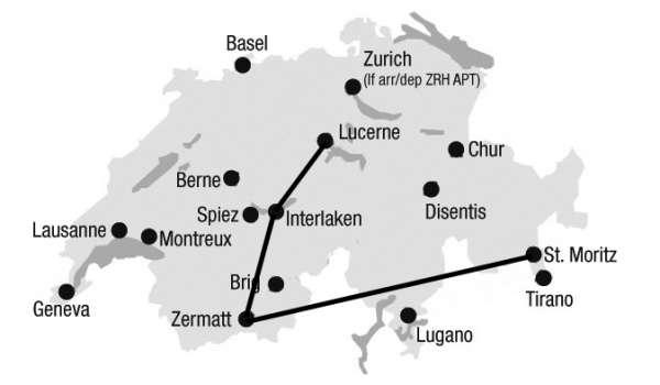 מפת מסע רכבות לוצרן-אינטרלקן-זרמאט-סן מוריץ