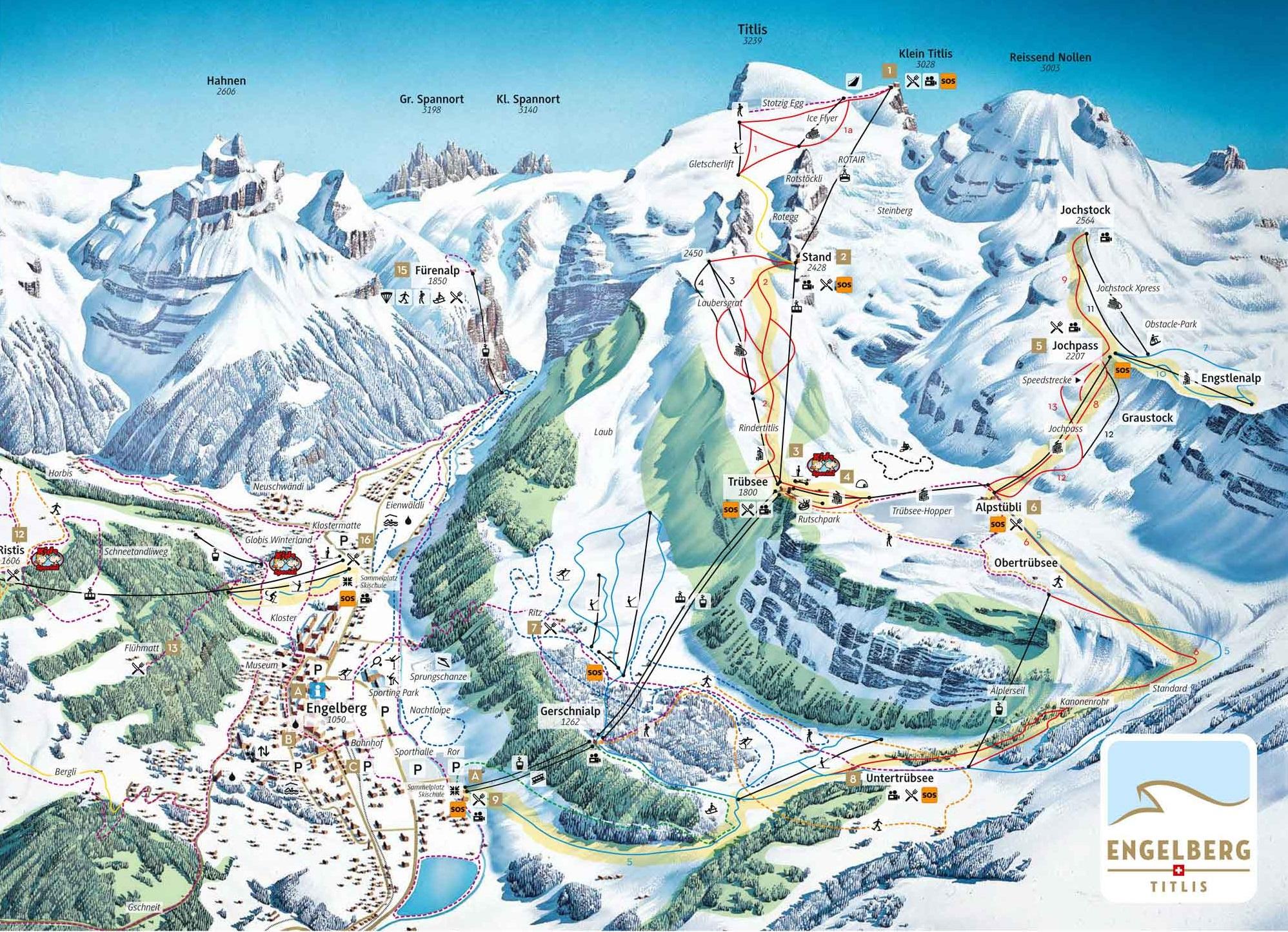 מפת העיירה ואתר הסקי באנגלברג