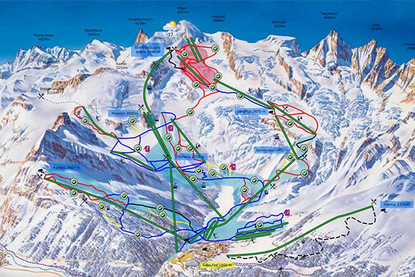 מפת מסלולי גלישה לסקי באזור סאס פה