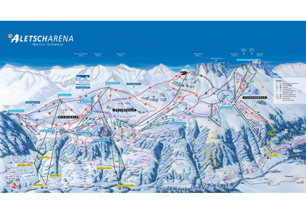 מפת מסלולי הסקי באזור וורבייר