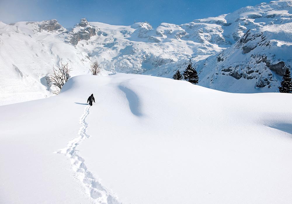 גולש בודד בשלג באזור אנגלברג