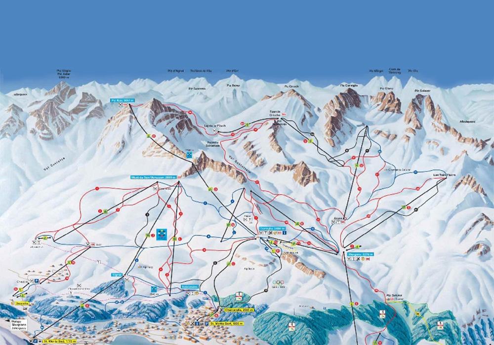 מפת מסלולי הסקי באזור סן מוריץ