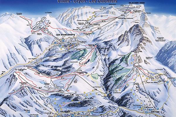מפת מסלולי גלישה באזור וילאר