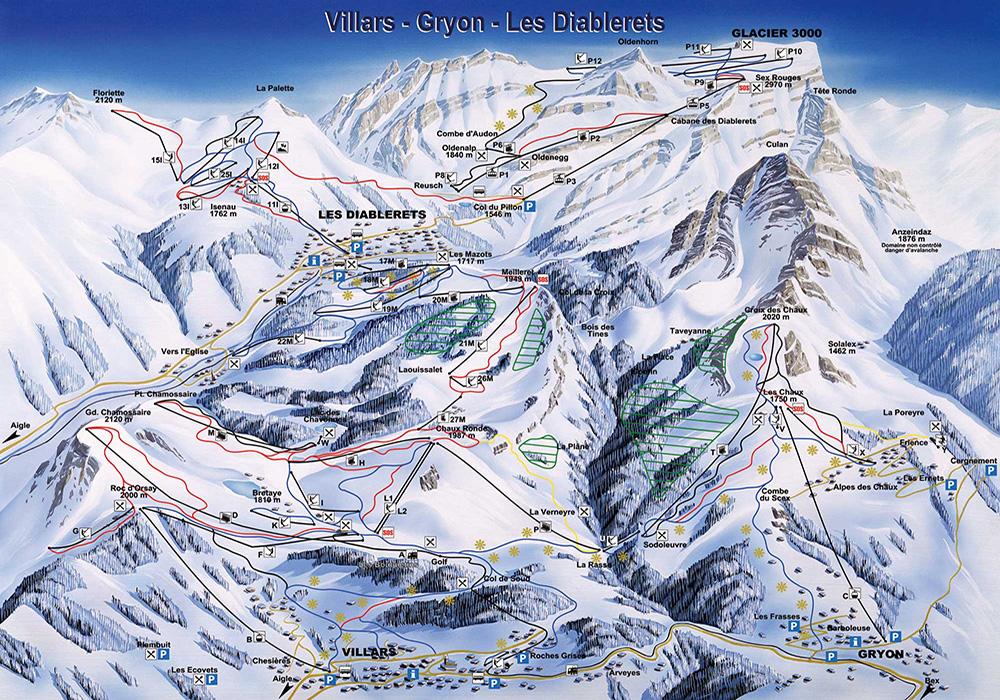 מפת מסלולי סקי באזור וילאר / אנגלברג
