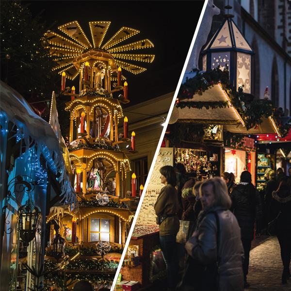 חגיגות בשוק חג המולד בעיר באזל